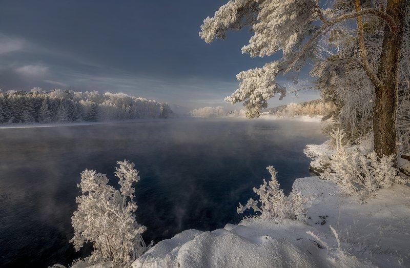 сибирь, енисей, зима, мороз Зимний Енисейphoto preview