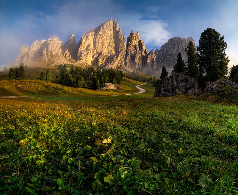 доломиты, горы, рассвет, италия, альпы, alpi, val gardena, dolomiti, italia Золотой рассветphoto preview