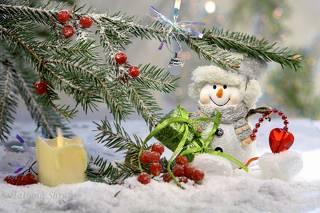 Сердечное поздравление от сказочного снеговика.
