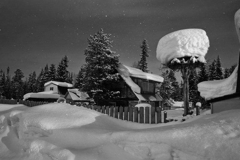 дача, зима, апатиты, тик-губа, снег, ночь Дачный поселок в снегуphoto preview