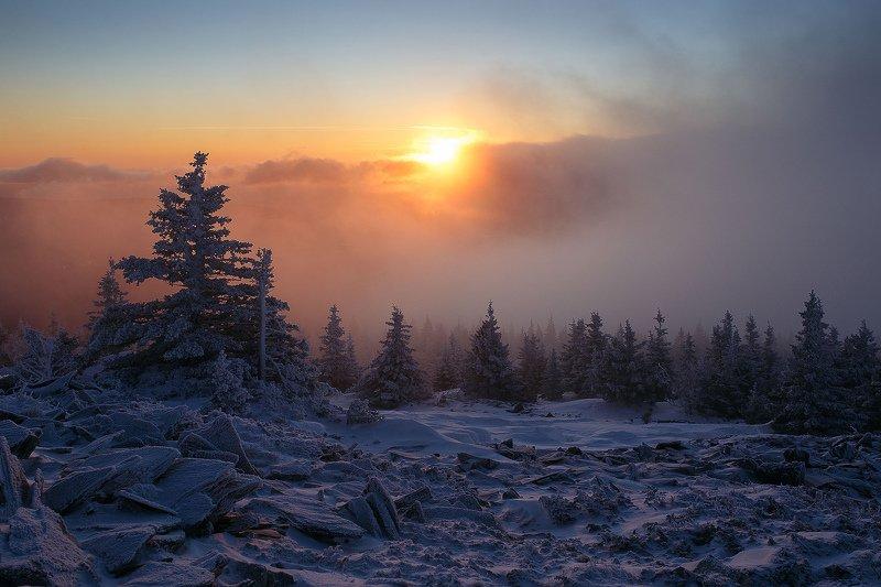 лес, зима, снег, природа, пейзаж, урал, горы Рассвет в горахphoto preview