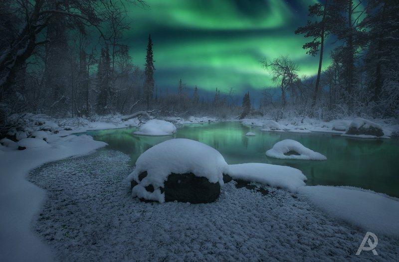 aurora borealis, северное  сияние, полярное сияние, кольский  полуостров Christmas fairytalephoto preview