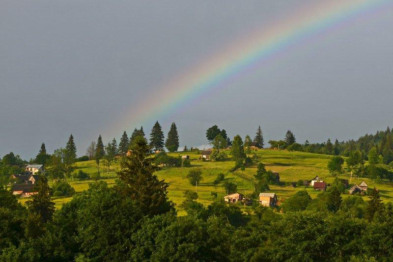 карпаты, радуга, село, после дождя Веселка фото превью