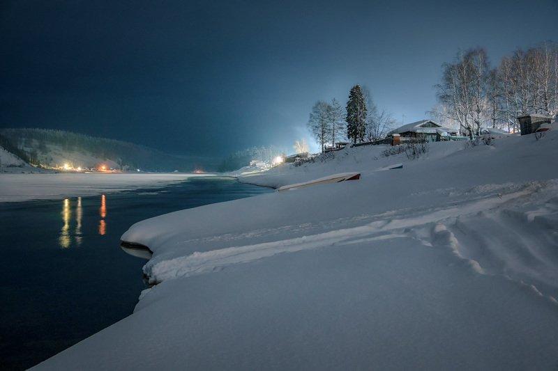 вишера, река, лед, деревня, зима, мороз, мороз, красновишерск Морозная ночь над Вишеройphoto preview