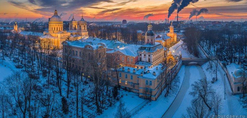 россия, петербург, вечер, закат, зима, дрон Александро-Невская лавра фото превью