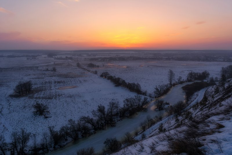 крапивенское городище, рассвет, река корень Рассвет в Крапивномphoto preview