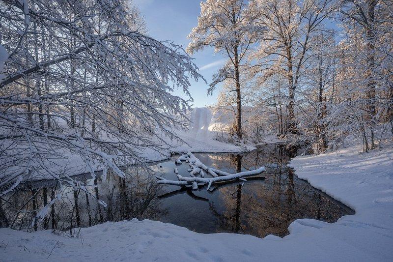 природа утро зима снег река деревья Заснежьеphoto preview