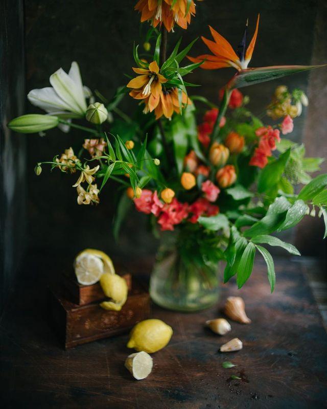 натюрморт, букет, цветы, оранжевый, красный photo preview