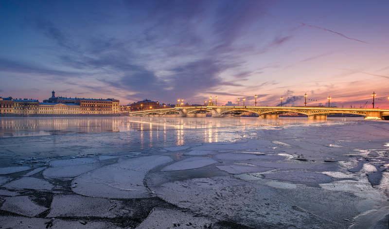 Петербург, закат, небо, лед, река, город Невские узорыphoto preview