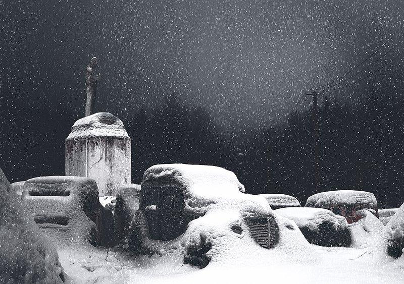 зима снегопад памятник газ-м снег Зимнее торжествоphoto preview