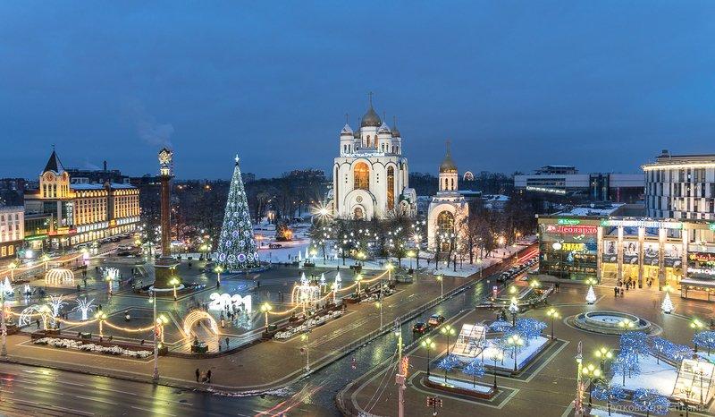 Кафедральный собор Христа Спасителя г.Калининград и вид на городскую площадь.photo preview