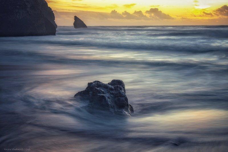 португалия, пляж, камень, длинная выдержка, океан, атлантический океан, вода, закат На закатеphoto preview