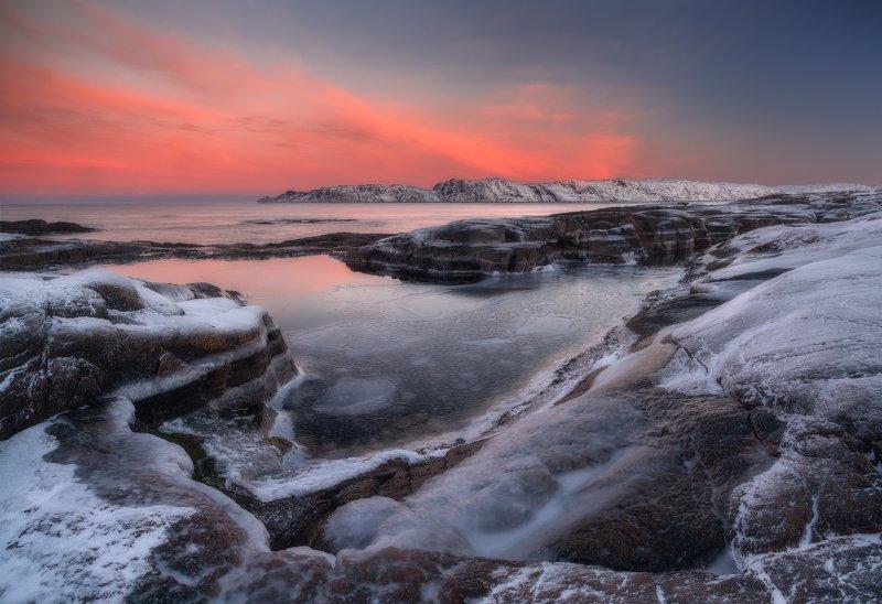пейзаж,россия,кольский,север,море,зима,лёд,закат,панорама Териберкаphoto preview