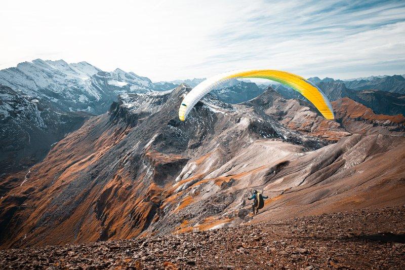 горы,снег, швейцария, туризм,солнце,воздух, парашют, спорт, небо, высота *Мне бы в небо...*photo preview