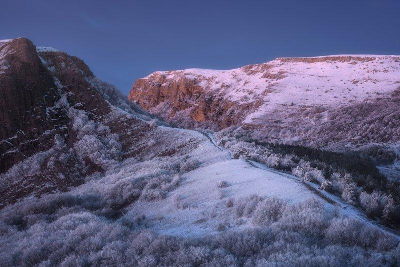 Крым зима мороз горы лес закат Зимний Крымphoto preview
