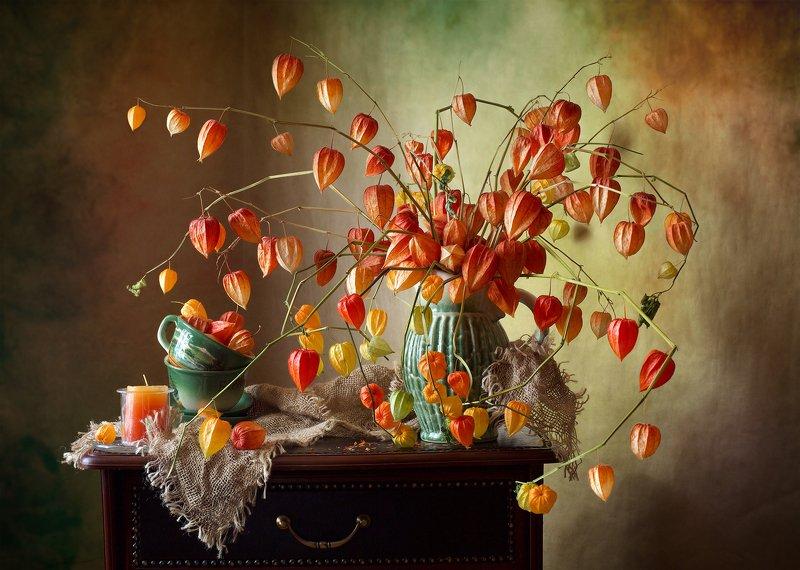 фотонатюрморт, миламиронова, осень, физалис, букет, свеча, позитив Осенний оптимистичный... фото превью