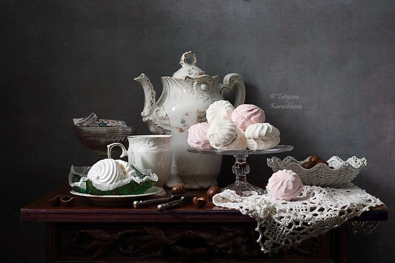 натюрморт, чайник, чай, зефир Чай с зефиромphoto preview