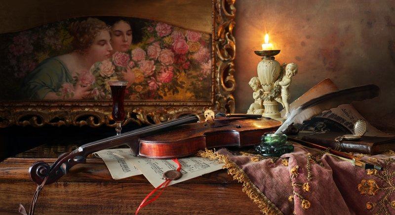 скрипка, музыка, картина, свеча Натюрморт со скрипкой и картинойphoto preview