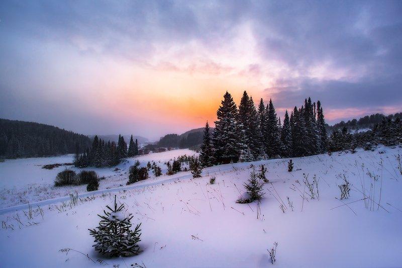 Шаркан, Удмуртия, закат, зима, снег, Природа Удмуртии Удмуртия зимойphoto preview