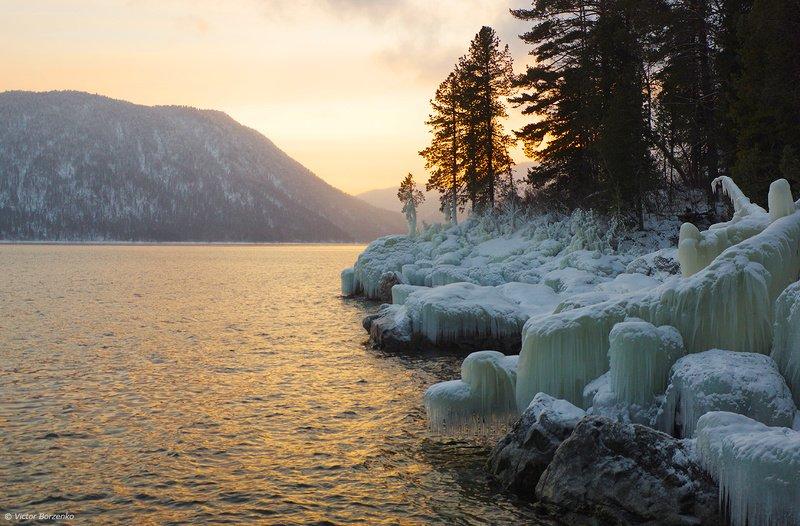 телецкое озеро, закат, лед Телецкий вечерphoto preview