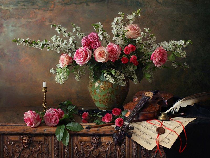 цветы, скрипка, музыка, розы Натюрморт со скрипкой и цветамиphoto preview