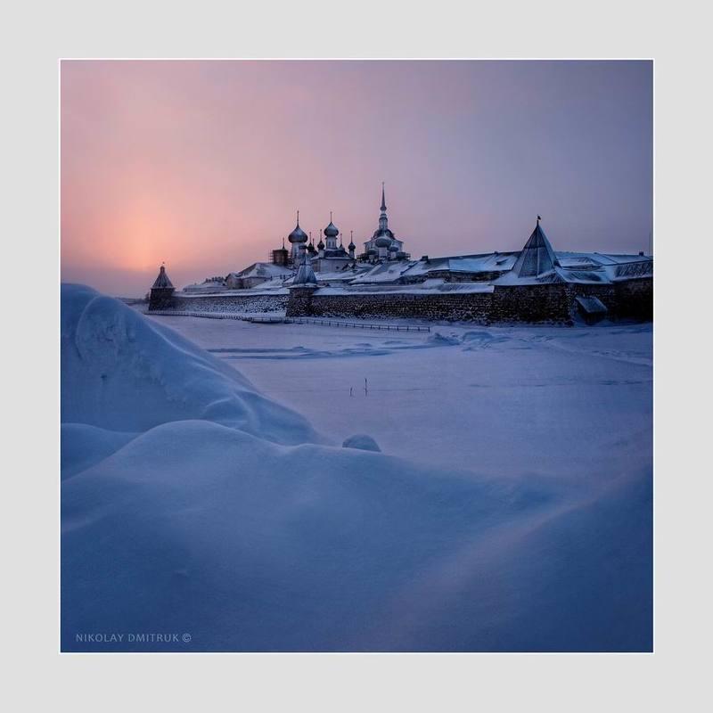 пейзаж зима мороз снег дмитрук музыка остров закат. Соловки. январьphoto preview
