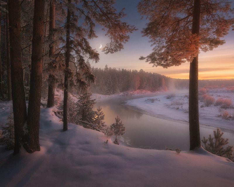вечер, река, зима, иней, луна Морозные сумеркиphoto preview