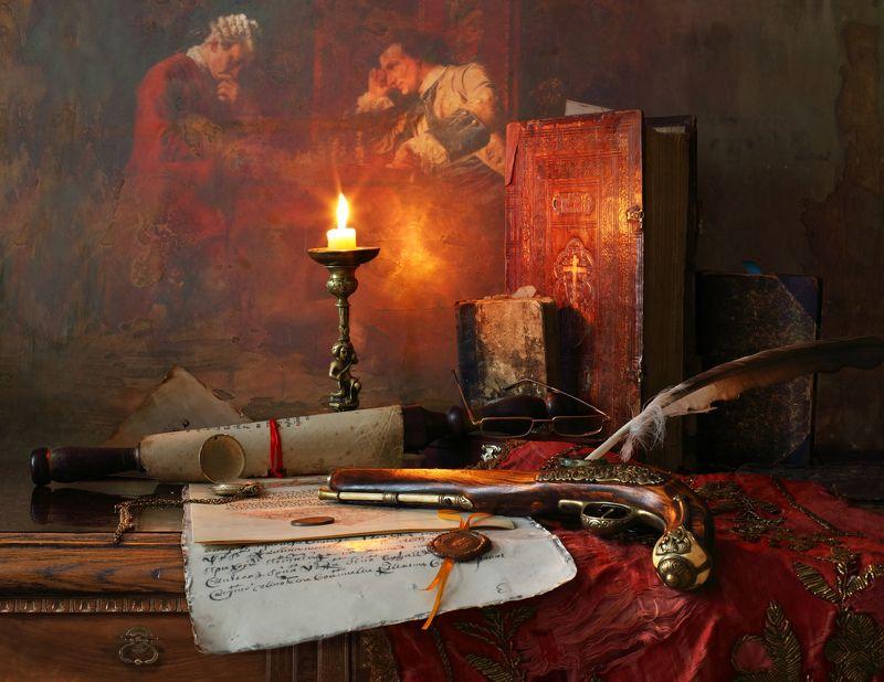 свеча, книги, свиток, пистолет Натюрморт со свитком и пистолетомphoto preview