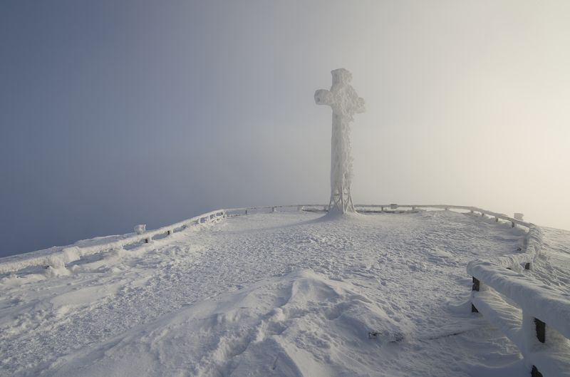 winter, snow, frost, foggy, blue, cold, landscape, bieszczady, poland Tarnica 1346m - Bieszczady National Park, Polandphoto preview