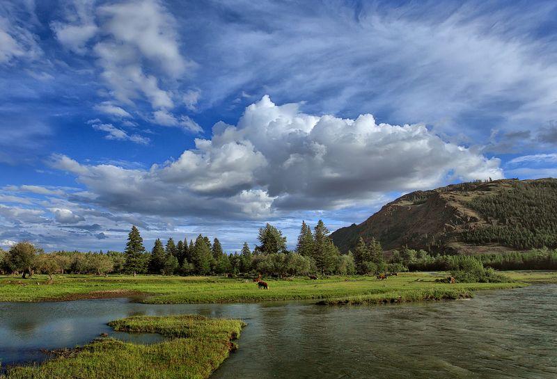 Алтай, лето, природа, пейзаж, горы, река, небо, облака, лето, деревня Летний деньphoto preview