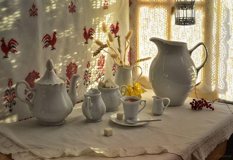 натюрморт,композиция,свет,чай ,кувшины,чайник,утро Утро, чайphoto preview