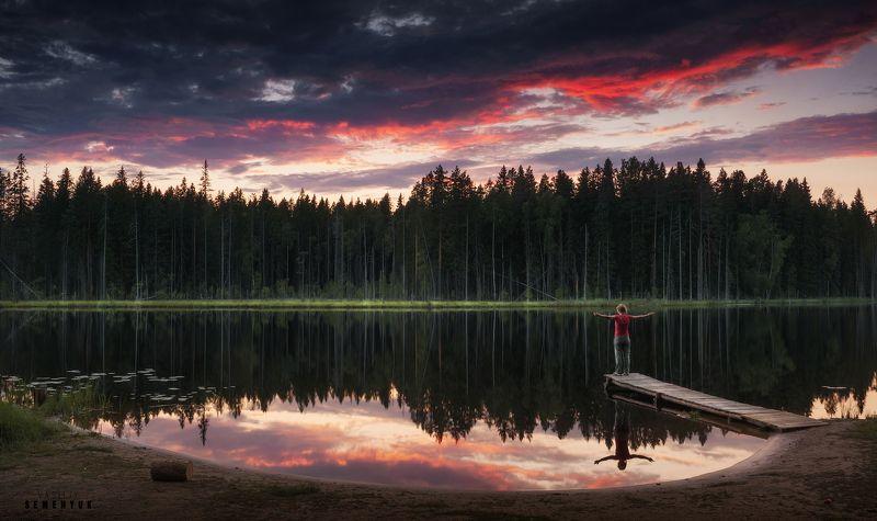 карелия, закат, озеро, пирс, небо, облака, отражения, karelia, lake, reflections, dawn, clouds. Провожая Солнце.photo preview