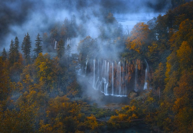 plitvice, lakes, croatia, forest, tree, waterfall, landscape, water, fog  plitvicka jezera  фото превью