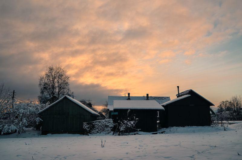 зима, мороз, снег, деревня, красота, тишина, вечер Вечер в деревне.photo preview