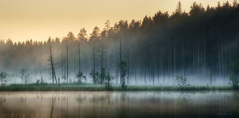 карелия, закат, озеро, туман, панорама, dawn, karelia, lake, forest, fog, idillyc. Вечер по карельски.photo preview
