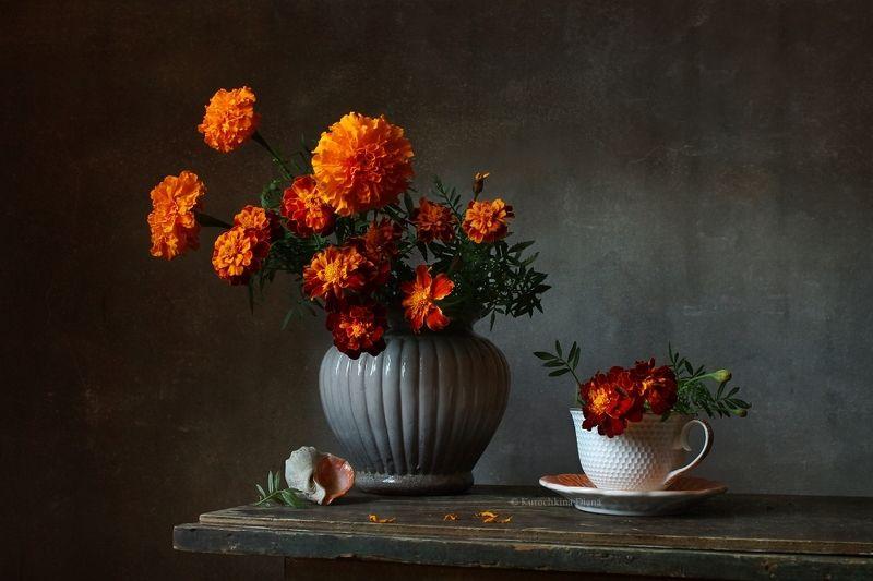 натюрморт, цветы, букет, бархатцы вариации с букетом бархатцевphoto preview