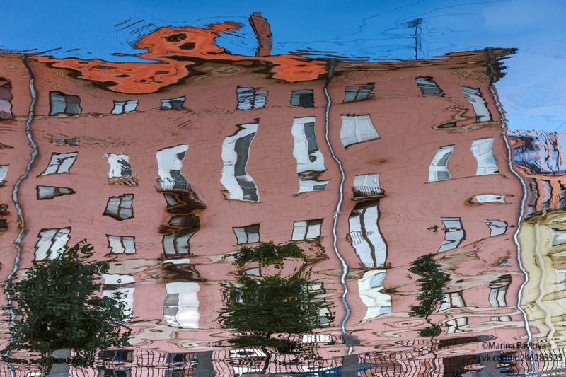 акваабстракция, абстракция, отражения на воде, петербургские акварели, парейдолия, санкт-петербург, город Дом с весёлым привидением на крыше...photo preview