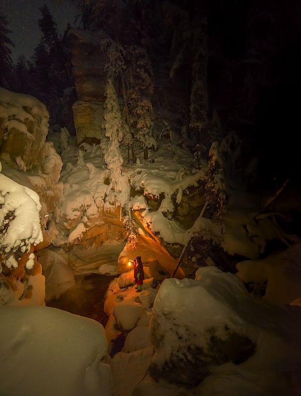 архангельская обасть, ночное фото, русский север, мороз, пинега, карст Гномья ночьphoto preview