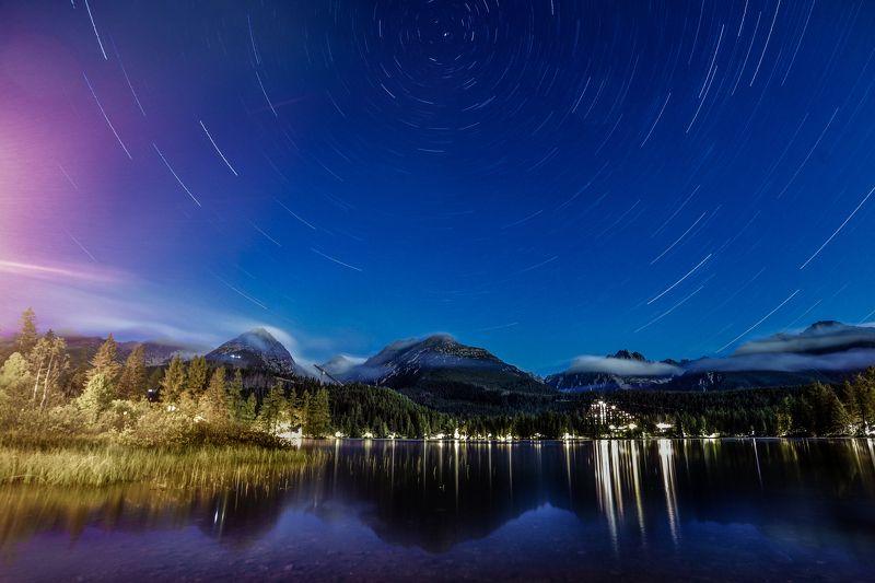 словакия, горы, татры, штребське плесо, озеро, ночь, звездные треки, звезды, пейзаж photo preview