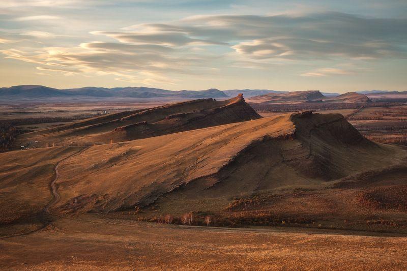 россия, хакасия, сундуки, степь, горы, лесостепь, закат, природа, пейзаж, заход солнца, осень, лиственница, осина Просторы Хакасииphoto preview