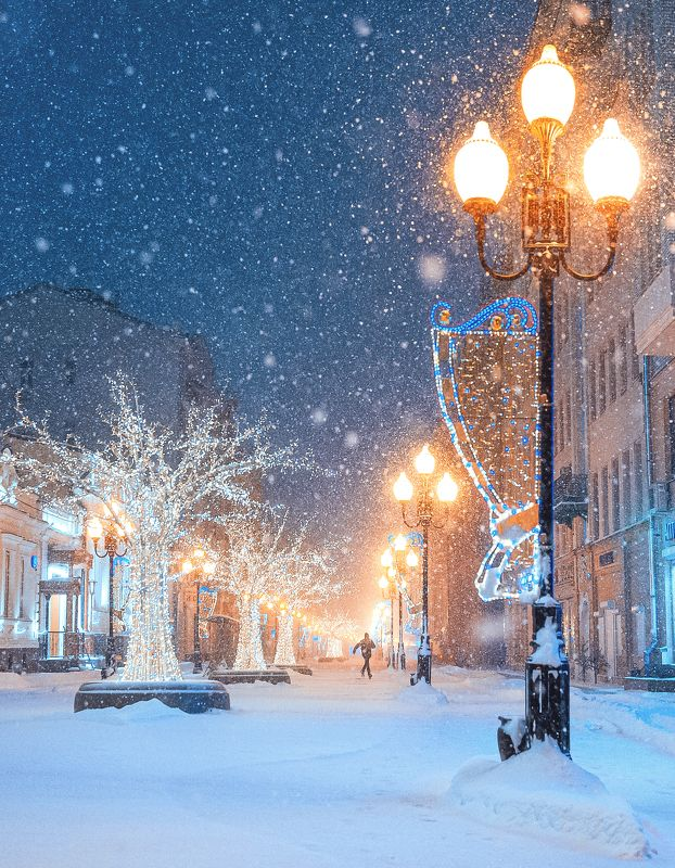 арбат, ночь, снег, улица, street, night, moscow, winter Старый Арбатphoto preview