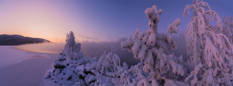 природа, пейзаж, север, кольский, панорама, природа россии, дикая природа, закат, свет, облака, туман, зима Имандраphoto preview