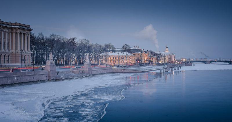 Петербург, зима, Нева, лед, холод, Морозный петербургский вечерphoto preview