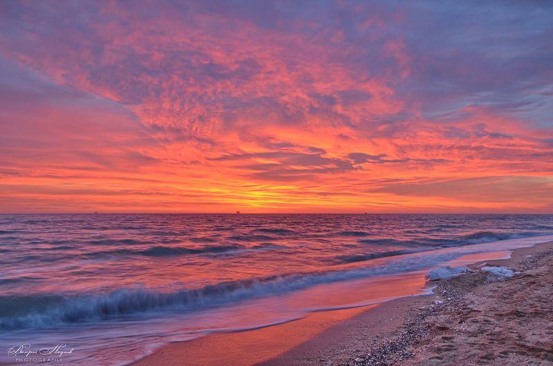 азов, арабатская стрелка, море, январь, рассвет, восход, небо, облака, 10 мин. до восхода Так рождается день фото превью
