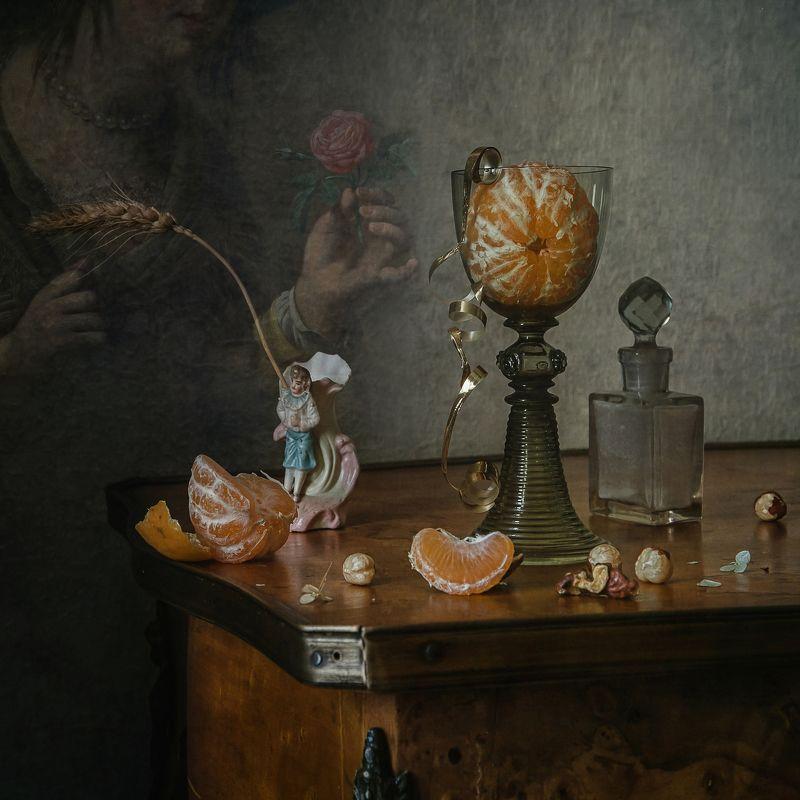 натюрморт, стекло, бокал, рёмер, мандарин, роза Про мандарин и розуphoto preview