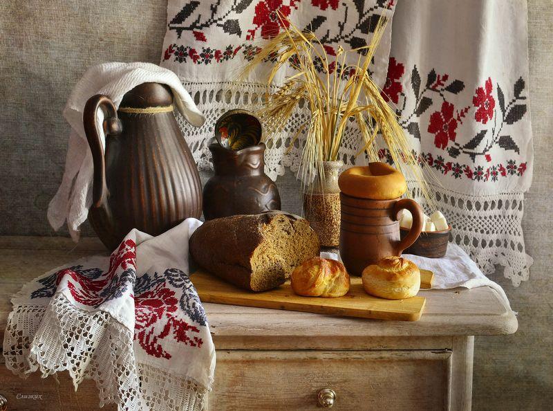 натюрморт,композиция,свет,рушники,хлеб,кувшин,сахар ***photo preview