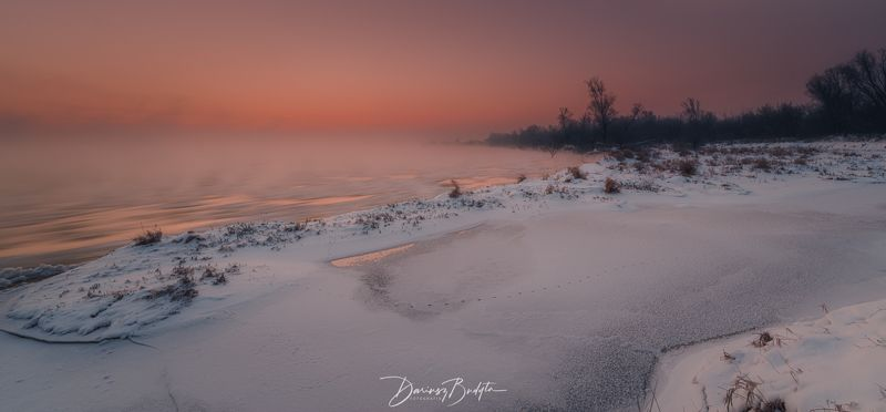 landscape, outdoors, sky, river, winter Winter sunrise on the Vistula River.photo preview