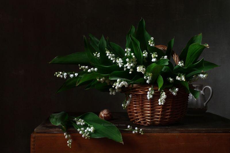 натюрморт, цветы, ландыши Корзинка с ландышамиphoto preview