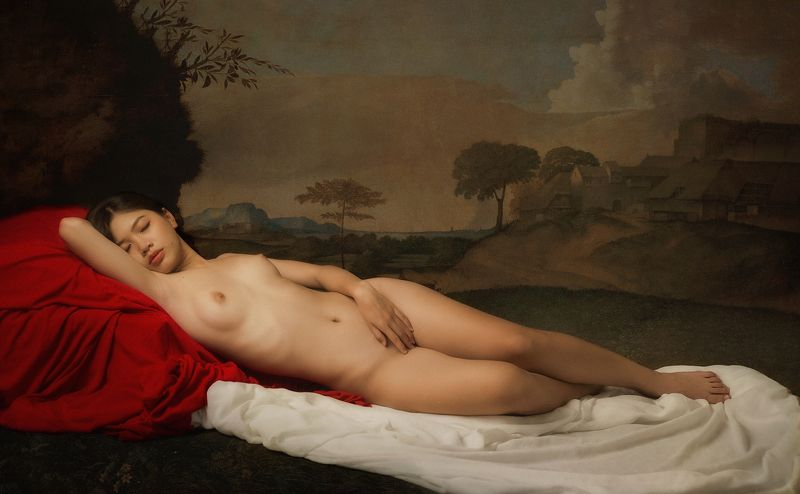 nude, fine nude, woman, female, beauty, body, painting, old, vietnamese, asian, girl, staged, fine art * * *photo preview