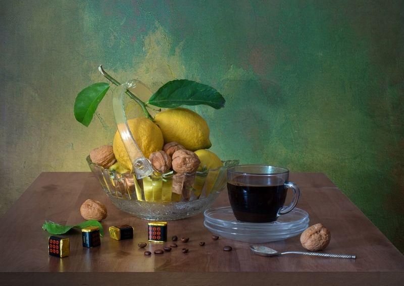 Натюрморт с кофе и лимонамиphoto preview